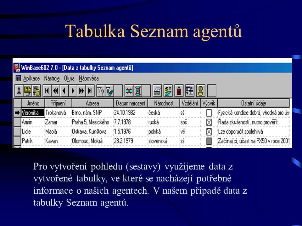 Tabulka Seznam agentů Pro vytvoření pohledu (sestavy) využijeme data z vytvořené tabulky, ve které se nacházejí potřebné informace o našich agentech.