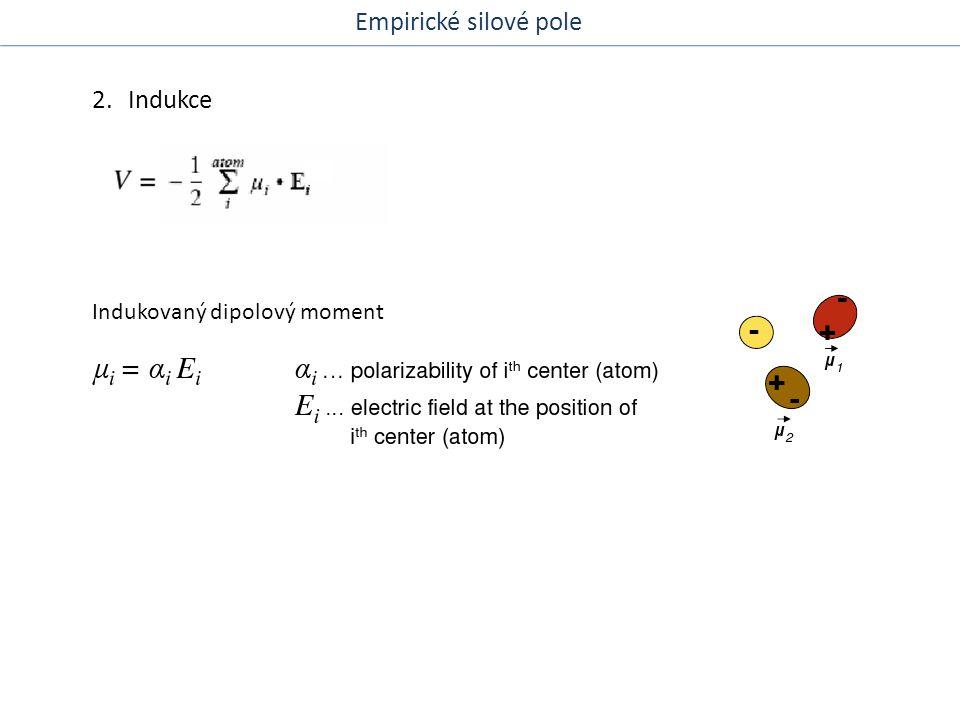 2. Indukce Indukovaný dipolový moment Empirické silové pole