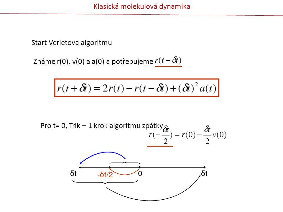 Start Verletova algoritmu Známe r(0), v(0) a a(0) a potřebujeme Pro t= 0, Trik – 1 krok algoritmu zpátky Klasická molekulová dynamika
