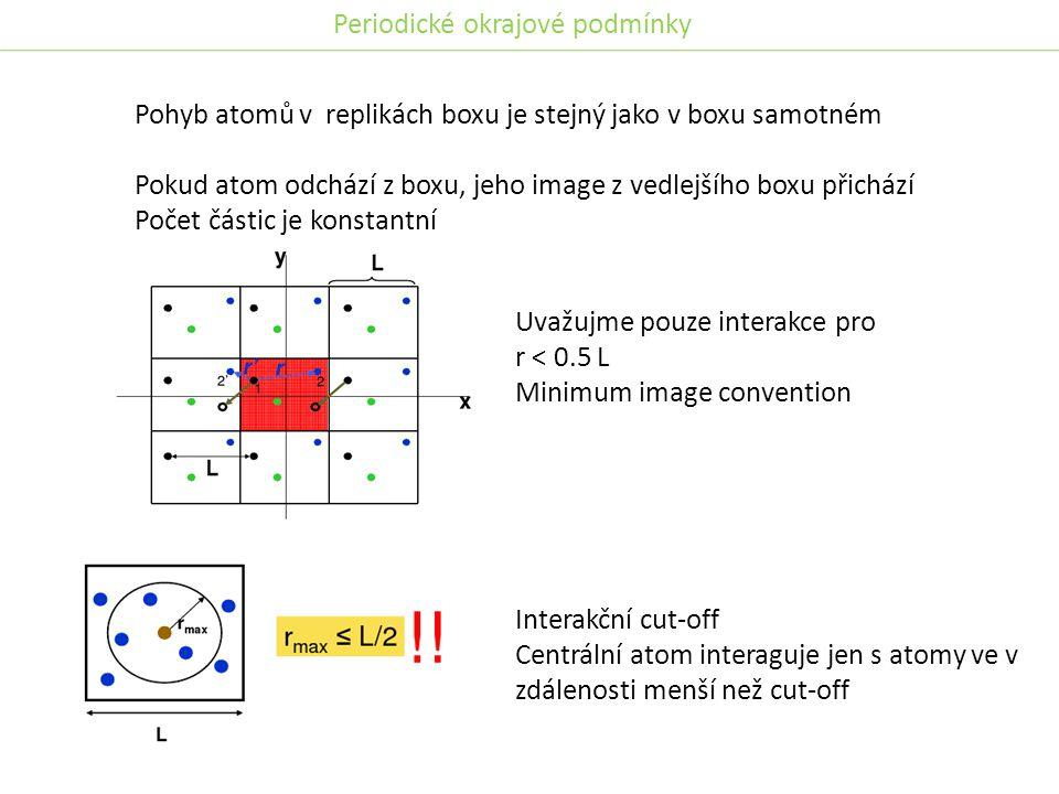 Pohyb atomů v replikách boxu je stejný jako v boxu samotném Pokud atom odchází z boxu, jeho image z vedlejšího boxu přichází Počet částic je konstantní Uvažujme pouze interakce pro r < 0.5 L Minimum image convention Interakční cut-off Centrální atom interaguje jen s atomy ve v zdálenosti menší než cut-off Periodické okrajové podmínky