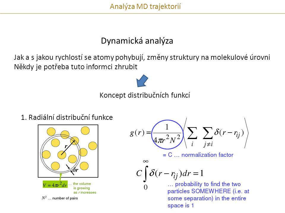 Dynamická analýza Jak a s jakou rychlostí se atomy pohybují, změny struktury na molekulové úrovni Někdy je potřeba tuto informci zhrubit Koncept distribučních funkcí 1.