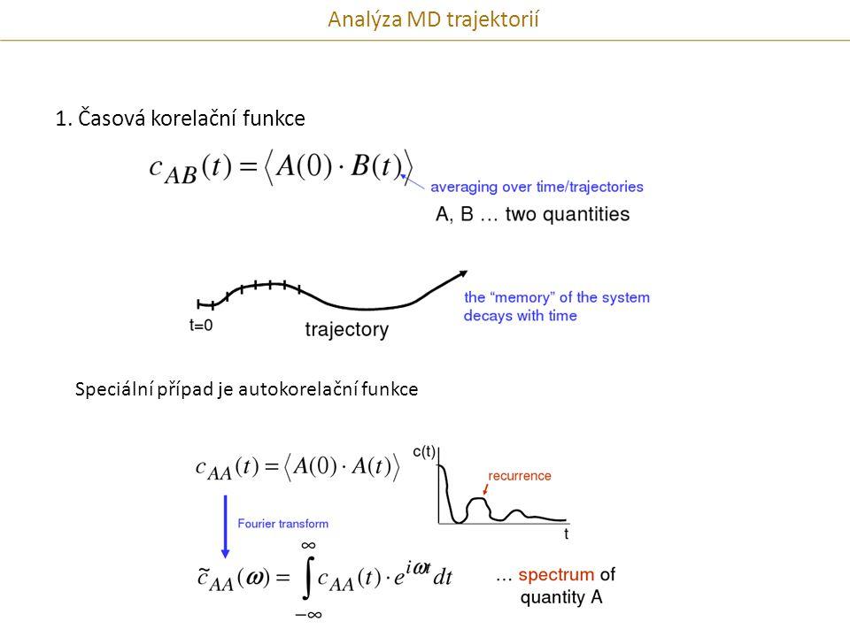 1. Časová korelační funkce Speciální případ je autokorelační funkce Analýza MD trajektorií
