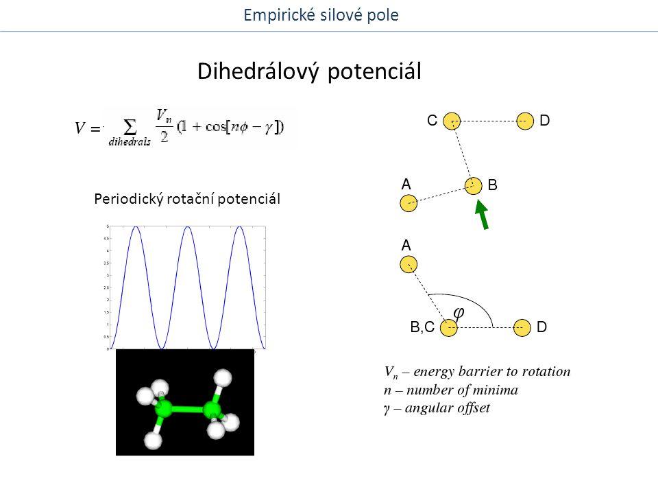Van der Waalsův potenciál Nevazebné interakce Přitažlivé síly Větší vzdálenosti – přitažlivé síly, disperze, Londonovy síly Menší vzdálenosti – repulzní síly Typ Lennard-Jones Empirické silové pole