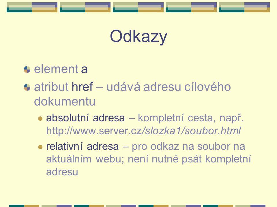 Relativní adresa v odkaze pro soubor uložený ve stejné složce jako aktuální stránka: a href= jmenosouboru.html pro soubor uložený v podsložce: a href= podslozka/jmenosouboru.html pro soubor uložený v jiné složce: a href= ../jinaslozka/jmenosouboru.html
