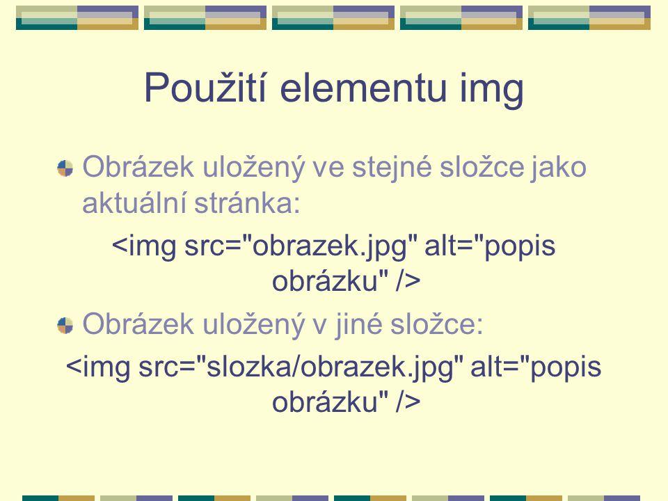 Použití elementu img Obrázek uložený ve stejné složce jako aktuální stránka: Obrázek uložený v jiné složce: