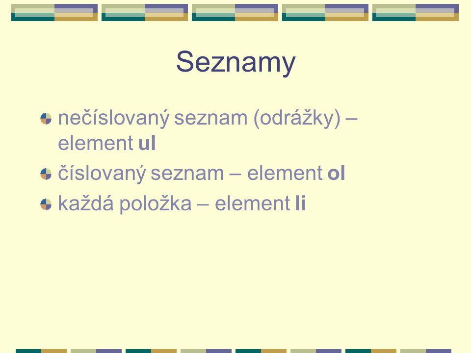 Seznamy nečíslovaný seznam (odrážky) – element ul číslovaný seznam – element ol každá položka – element li