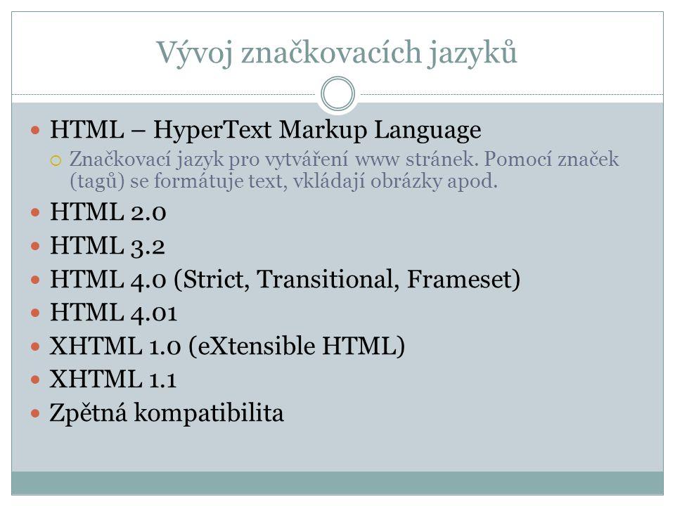 Vývoj značkovacích jazyků HTML – HyperText Markup Language  Značkovací jazyk pro vytváření www stránek.