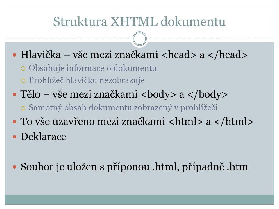 Struktura XHTML dokumentu Hlavička – vše mezi značkami a  Obsahuje informace o dokumentu  Prohlížeč hlavičku nezobrazuje Tělo – vše mezi značkami a  Samotný obsah dokumentu zobrazený v prohlížeči To vše uzavřeno mezi značkami a Deklarace Soubor je uložen s příponou.html, případně.htm