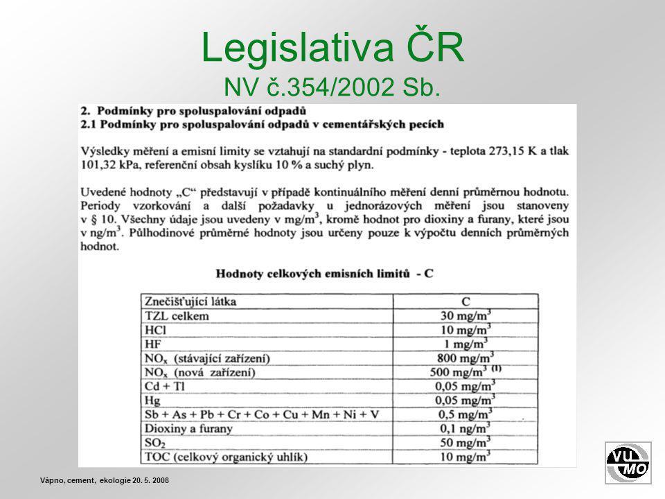 Legislativa ČR NV č.354/2002 Sb. Vápno, cement, ekologie 20. 5. 2008
