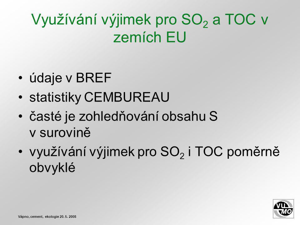 Využívání výjimek pro SO 2 a TOC v zemích EU údaje v BREF statistiky CEMBUREAU časté je zohledňování obsahu S v surovině využívání výjimek pro SO 2 i TOC poměrně obvyklé Vápno, cement, ekologie 20.