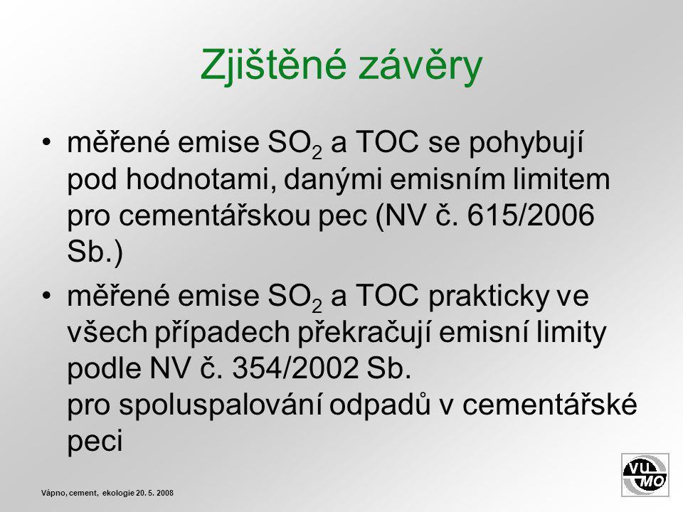 Zjištěné závěry měřené emise SO 2 a TOC se pohybují pod hodnotami, danými emisním limitem pro cementářskou pec (NV č.