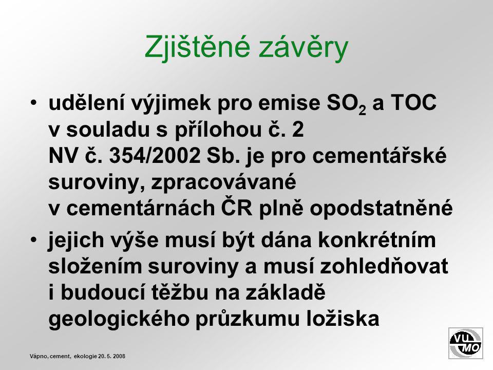 Zjištěné závěry udělení výjimek pro emise SO 2 a TOC v souladu s přílohou č.