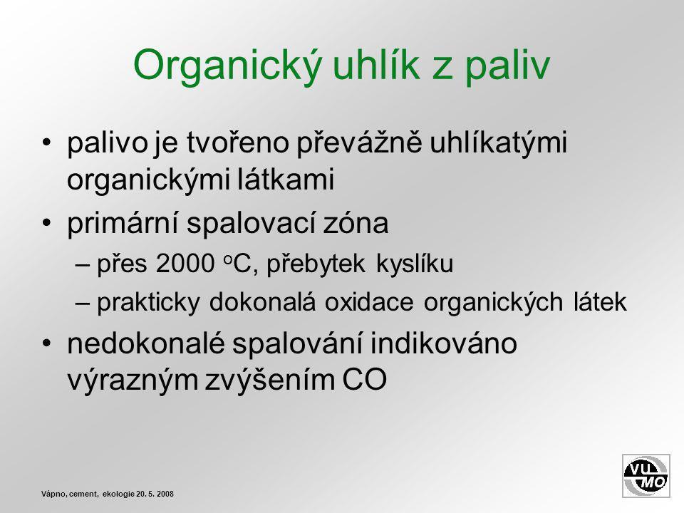 Organický uhlík z paliv palivo je tvořeno převážně uhlíkatými organickými látkami primární spalovací zóna –přes 2000 o C, přebytek kyslíku –prakticky dokonalá oxidace organických látek nedokonalé spalování indikováno výrazným zvýšením CO Vápno, cement, ekologie 20.