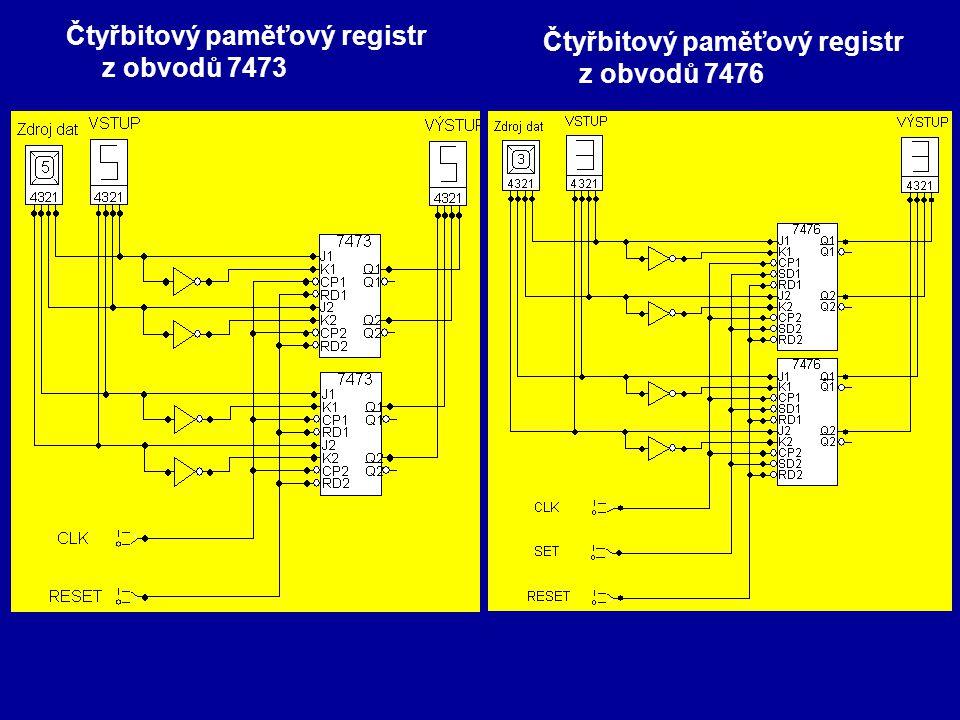 Čtyřbitový paměťový registr z obvodů 7473 Čtyřbitový paměťový registr z obvodů 7476
