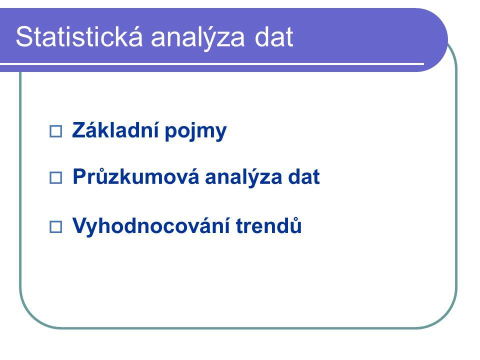 Statistická analýza dat  Základní pojmy  Průzkumová analýza dat  Vyhodnocování trendů