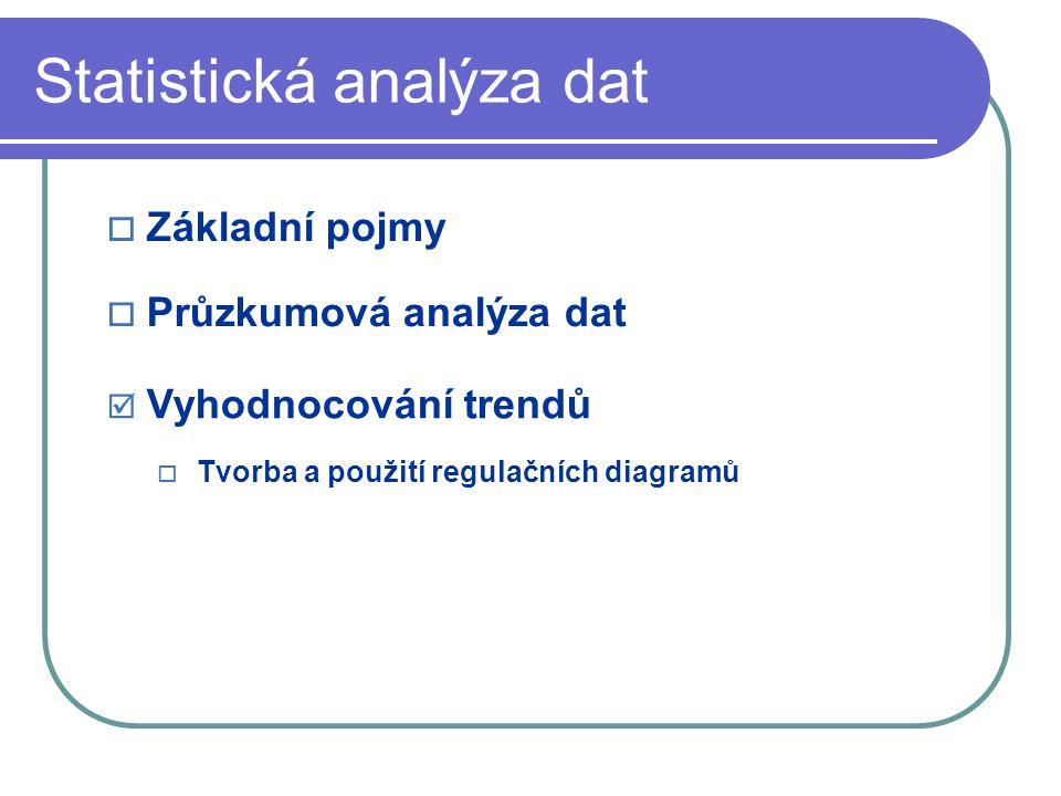 Statistická analýza dat  Základní pojmy  Průzkumová analýza dat  Vyhodnocování trendů  Tvorba a použití regulačních diagramů