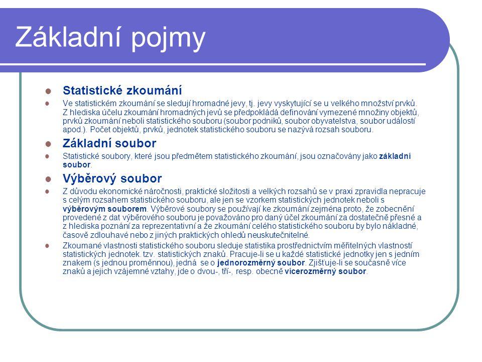 Základní pojmy Statistické zkoumání Ve statistickém zkoumání se sledují hromadné jevy, tj.