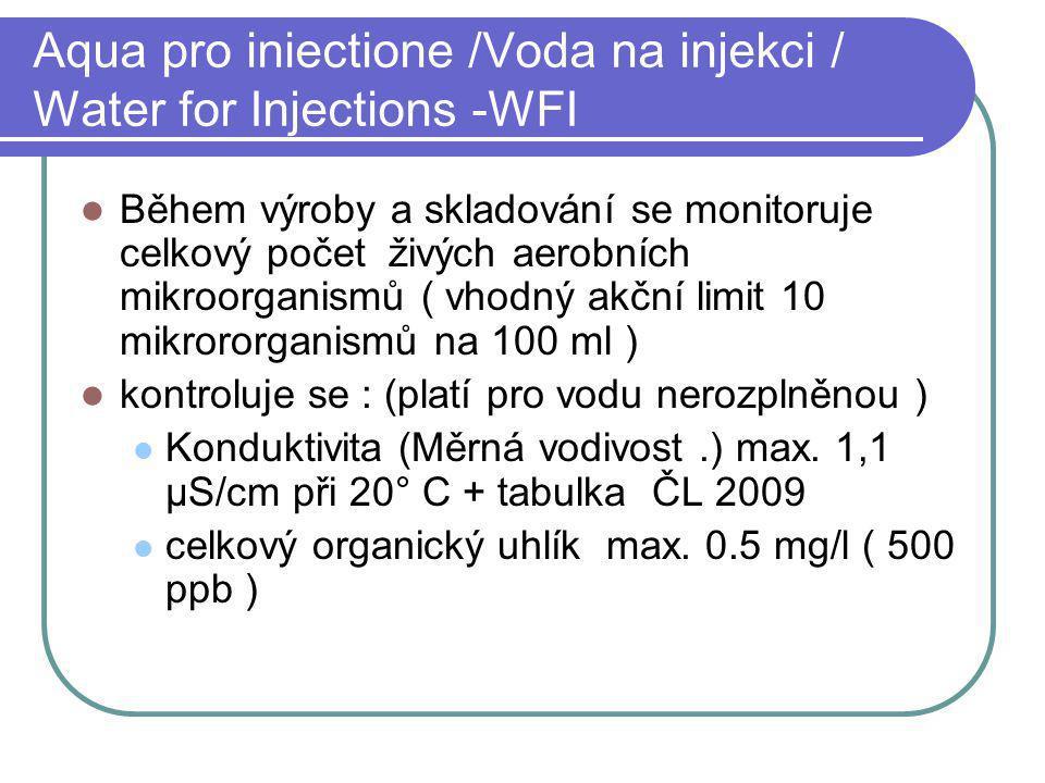 Aqua pro iniectione /Voda na injekci / Water for Injections -WFI Během výroby a skladování se monitoruje celkový počet živých aerobních mikroorganismů