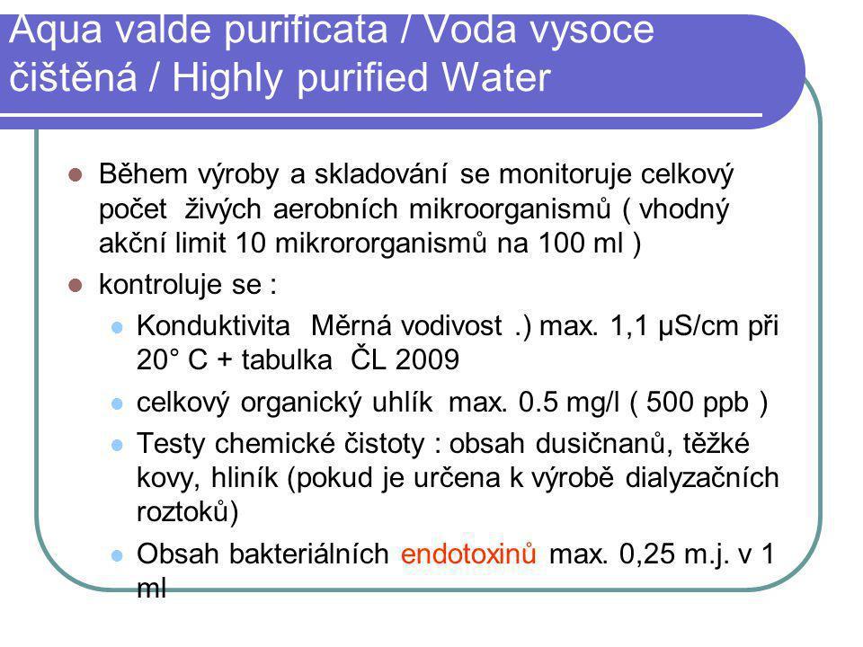 Aqua valde purificata / Voda vysoce čištěná / Highly purified Water Během výroby a skladování se monitoruje celkový počet živých aerobních mikroorgani