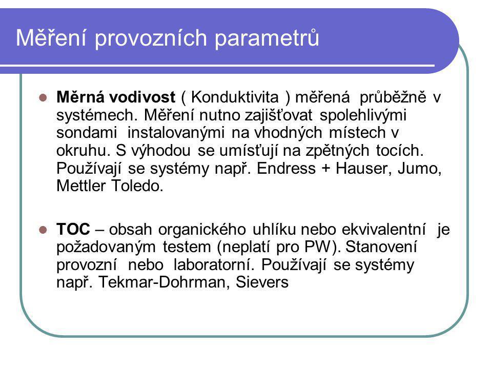 Měření provozních parametrů Měrná vodivost ( Konduktivita ) měřená průběžně v systémech. Měření nutno zajišťovat spolehlivými sondami instalovanými na