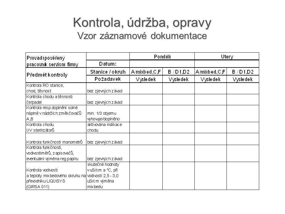 Kontrola, údržba, opravy Vzor záznamové dokumentace