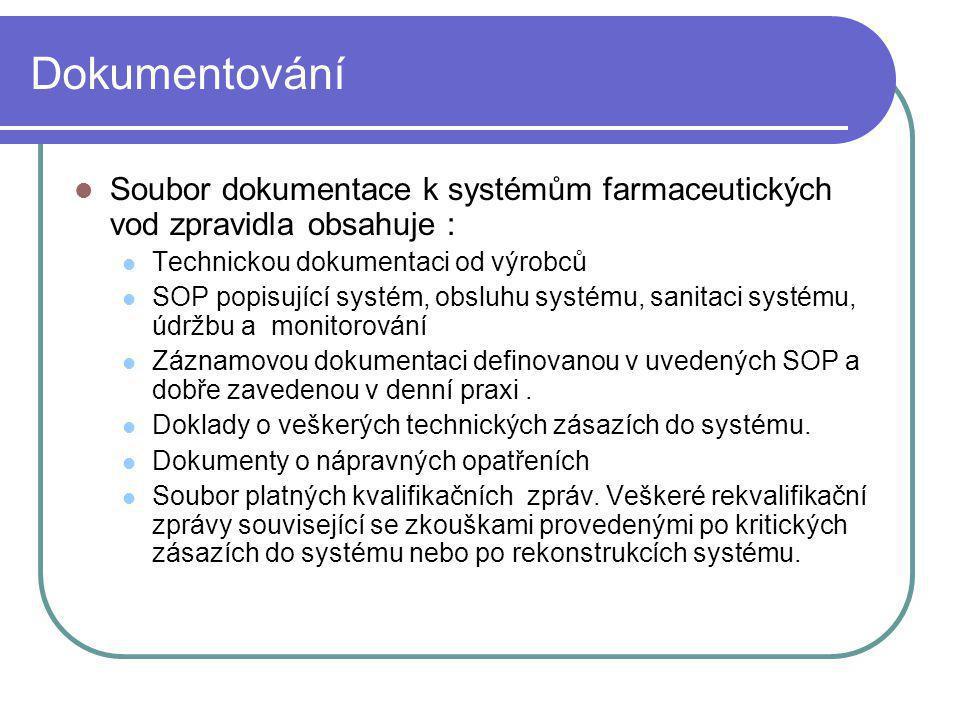 Dokumentování Soubor dokumentace k systémům farmaceutických vod zpravidla obsahuje : Technickou dokumentaci od výrobců SOP popisující systém, obsluhu
