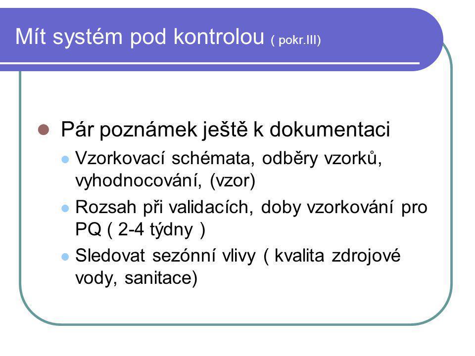 Mít systém pod kontrolou ( pokr.III) Pár poznámek ještě k dokumentaci Vzorkovací schémata, odběry vzorků, vyhodnocování, (vzor) Rozsah při validacích,