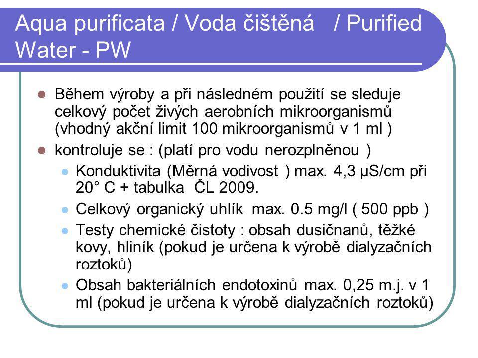 Aqua purificata / Voda čištěná / Purified Water - PW Během výroby a při následném použití se sleduje celkový počet živých aerobních mikroorganismů (vh