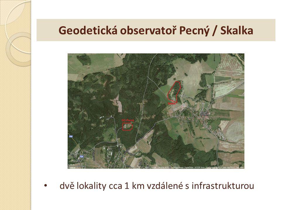 Geodetická observatoř Pecný / Skalka dvě lokality cca 1 km vzdálené s infrastrukturou