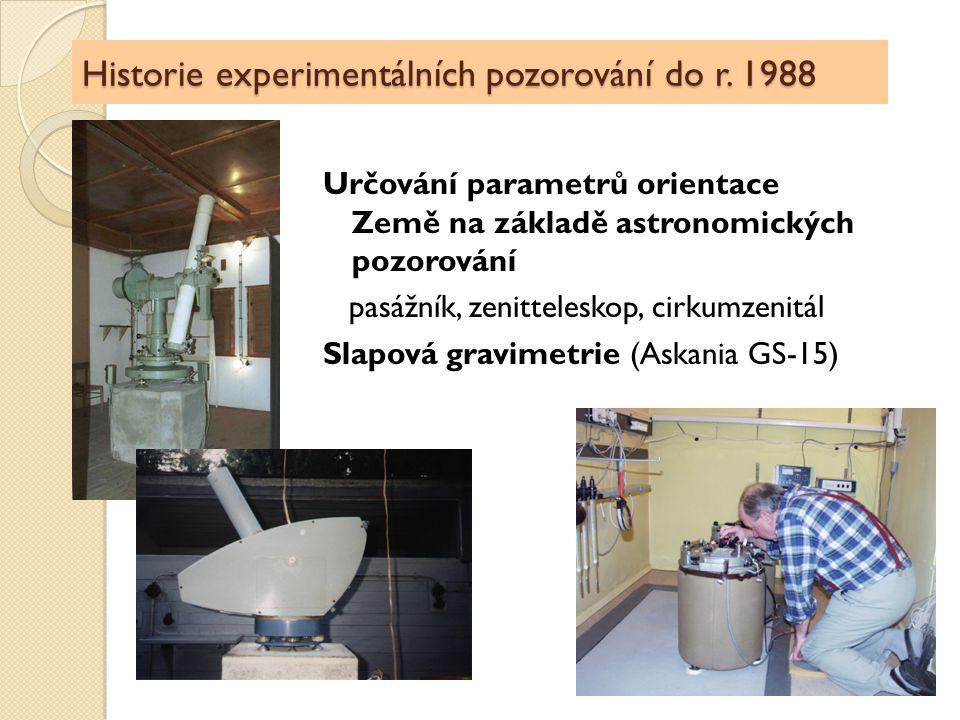 Historie experimentálních pozorování do r. 1988 Určování parametrů orientace Země na základě astronomických pozorování pasážník, zenitteleskop, cirkum