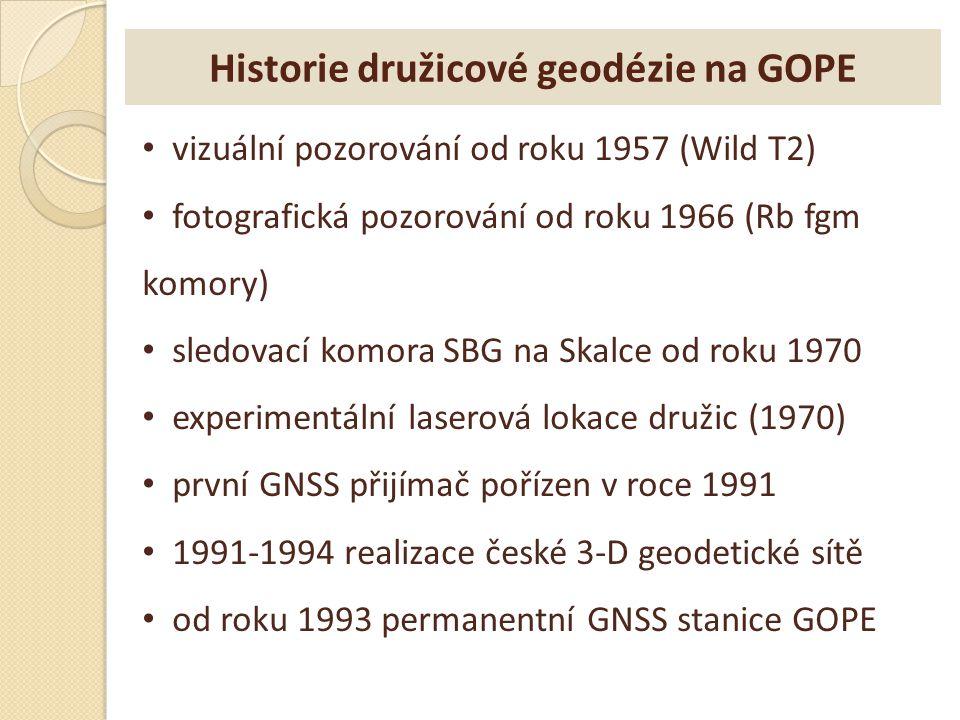Historie družicové geodézie na GOPE vizuální pozorování od roku 1957 (Wild T2) fotografická pozorování od roku 1966 (Rb fgm komory) sledovací komora S