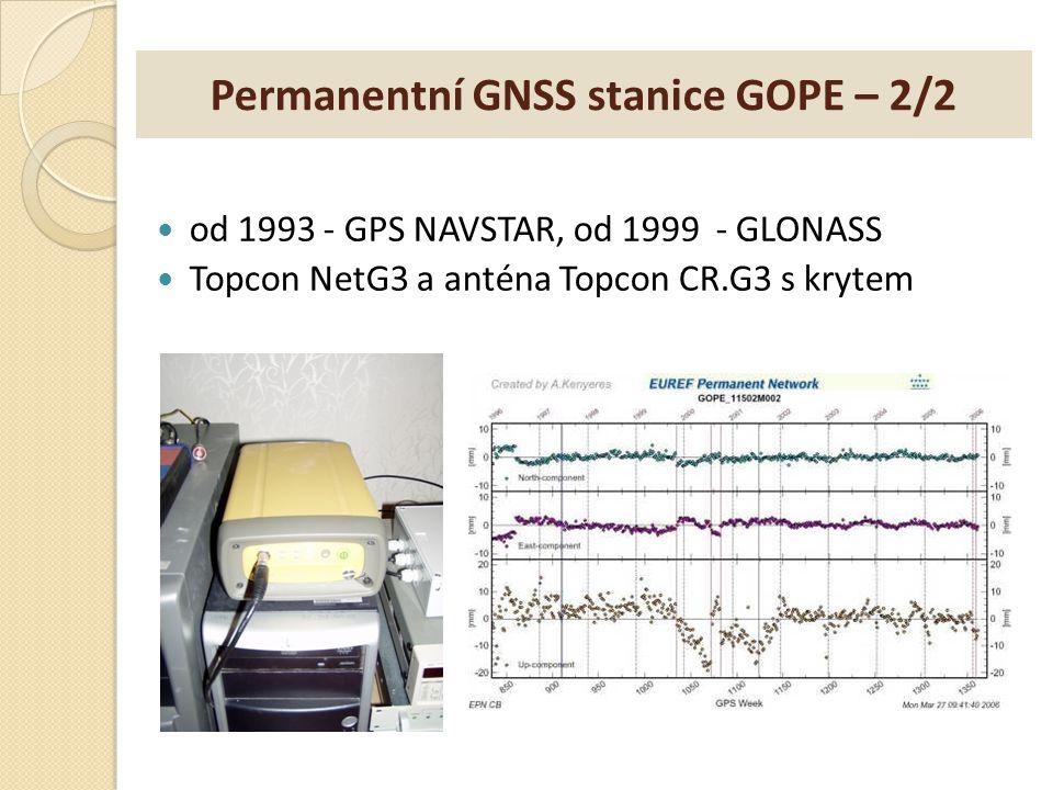 Permanentní GNSS stanice GOPE – 2/2 od 1993 - GPS NAVSTAR, od 1999 - GLONASS Topcon NetG3 a anténa Topcon CR.G3 s krytem