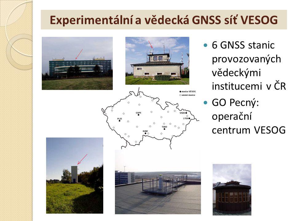 Experimentální a vědecká GNSS síť VESOG 6 GNSS stanic provozovaných vědeckými institucemi v ČR GO Pecný: operační centrum VESOG