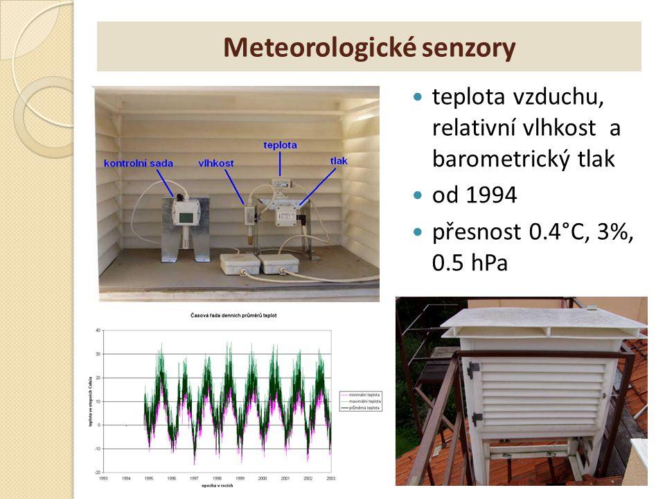 Meteorologické senzory teplota vzduchu, relativní vlhkost a barometrický tlak od 1994 přesnost 0.4°C, 3%, 0.5 hPa