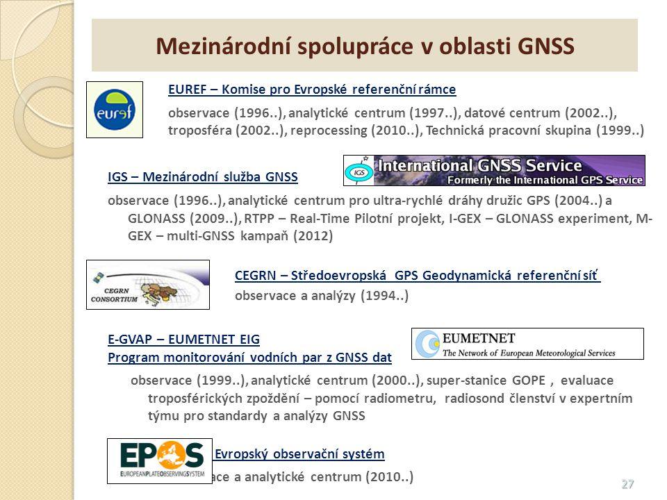 27 EUREF – Komise pro Evropské referenční rámce observace (1996..), analytické centrum (1997..), datové centrum (2002..), troposféra (2002..), reproce
