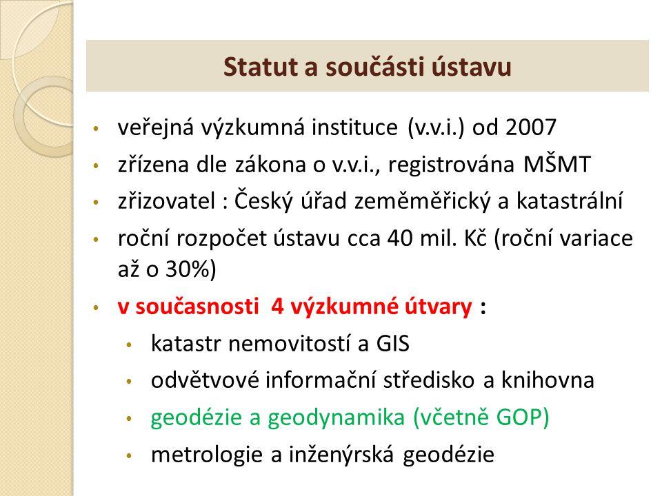 Statut a součásti ústavu veřejná výzkumná instituce (v.v.i.) od 2007 zřízena dle zákona o v.v.i., registrována MŠMT zřizovatel : Český úřad zeměměřick