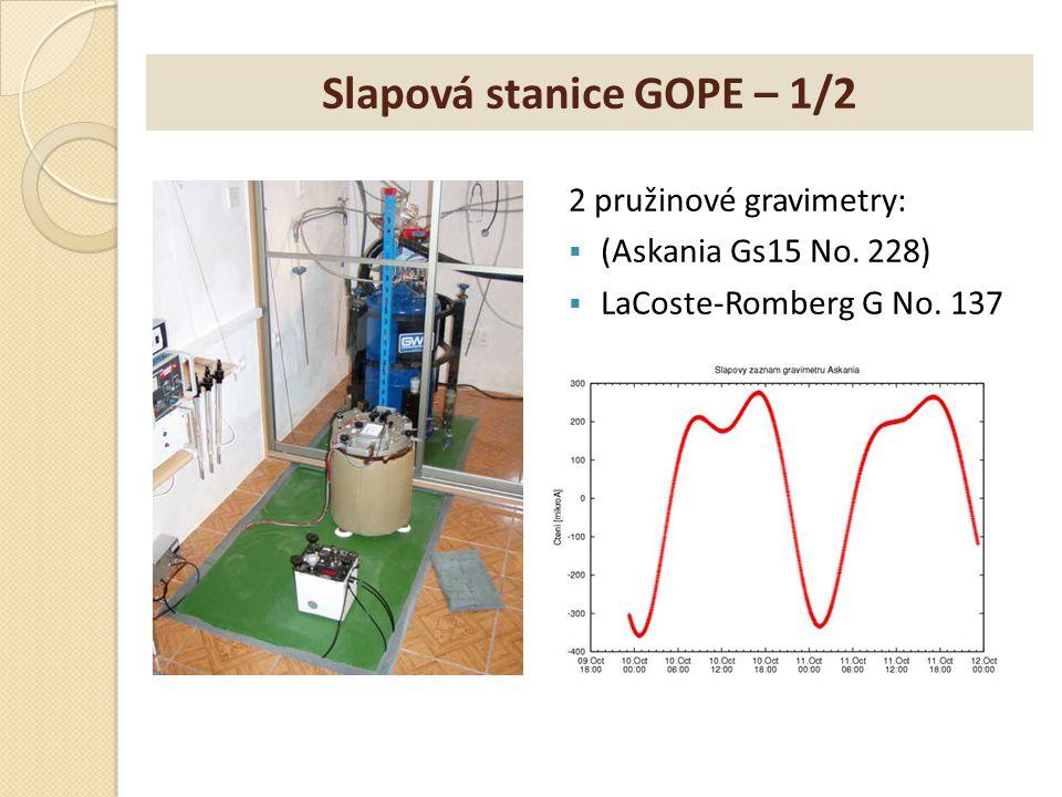 Slapová stanice GOPE – 1/2 2 pružinové gravimetry:  (Askania Gs15 No. 228)  LaCoste-Romberg G No. 137