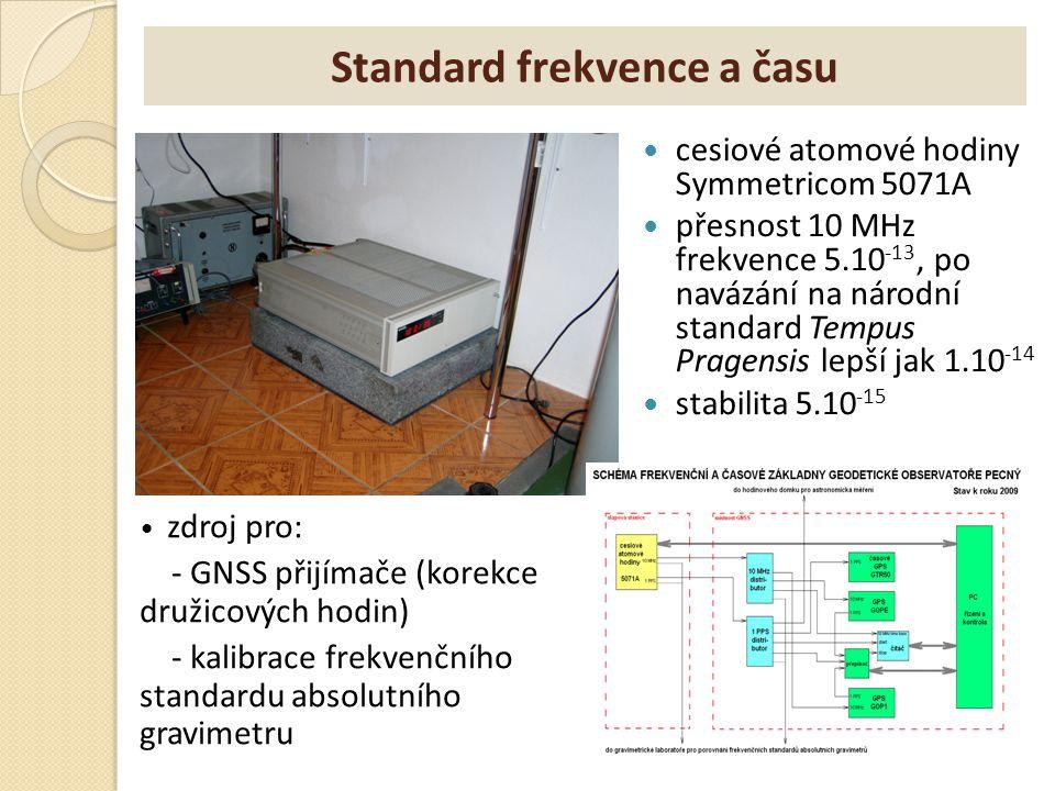 Standard frekvence a času cesiové atomové hodiny Symmetricom 5071A přesnost 10 MHz frekvence 5.10 -13, po navázání na národní standard Tempus Pragensi