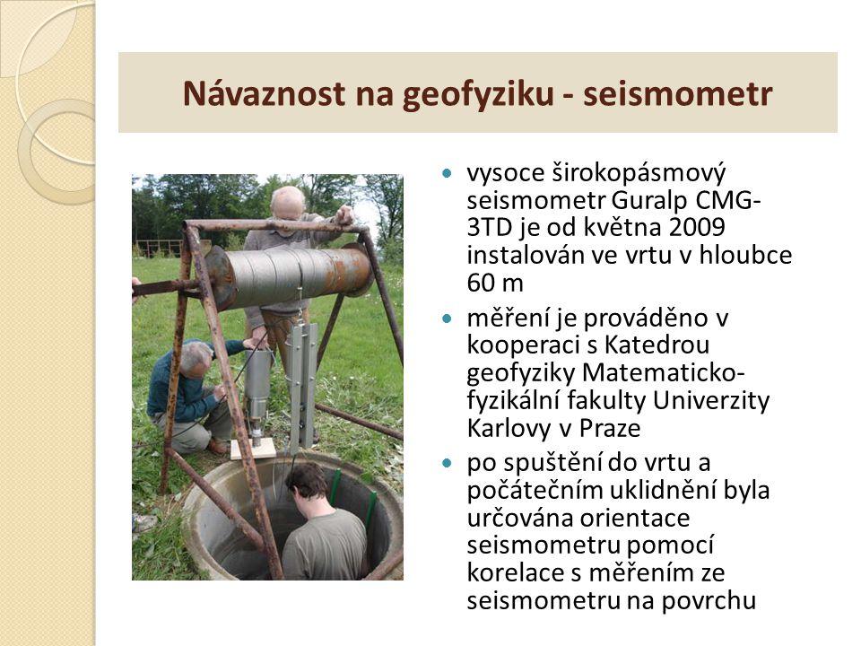 Návaznost na geofyziku - seismometr vysoce širokopásmový seismometr Guralp CMG- 3TD je od května 2009 instalován ve vrtu v hloubce 60 m měření je prov