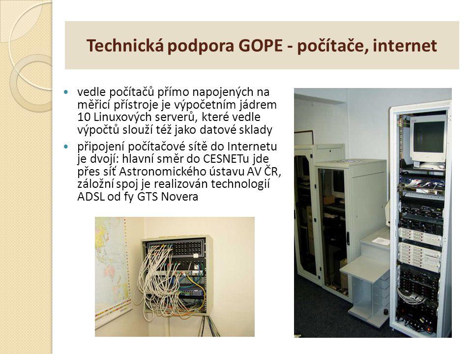 Technická podpora GOPE - počítače, internet vedle počítačů přímo napojených na měřicí přístroje je výpočetním jádrem 10 Linuxových serverů, které vedl