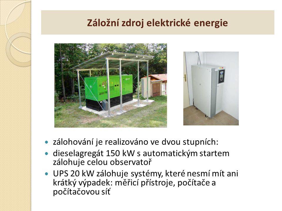 Záložní zdroj elektrické energie zálohování je realizováno ve dvou stupních: dieselagregát 150 kW s automatickým startem zálohuje celou observatoř UPS