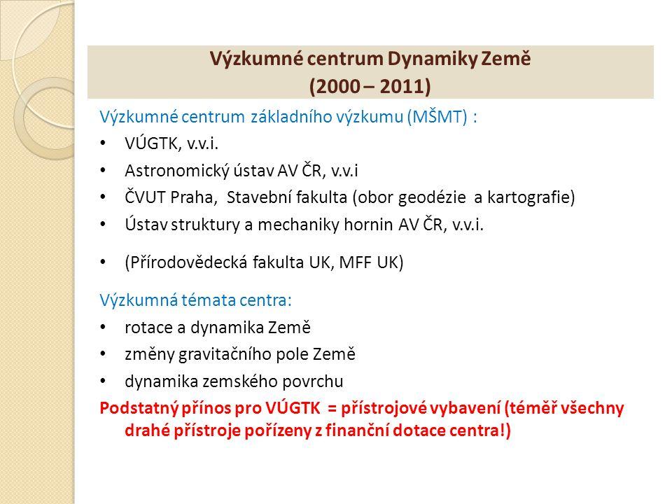 Výzkumné centrum Dynamiky Země (2000 – 2011) Výzkumné centrum základního výzkumu (MŠMT) : VÚGTK, v.v.i. Astronomický ústav AV ČR, v.v.i ČVUT Praha, St