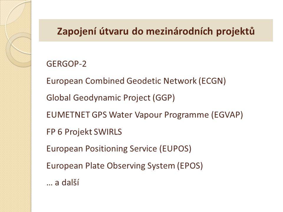 Zapojení útvaru do mezinárodních projektů GERGOP-2 European Combined Geodetic Network (ECGN) Global Geodynamic Project (GGP) EUMETNET GPS Water Vapour