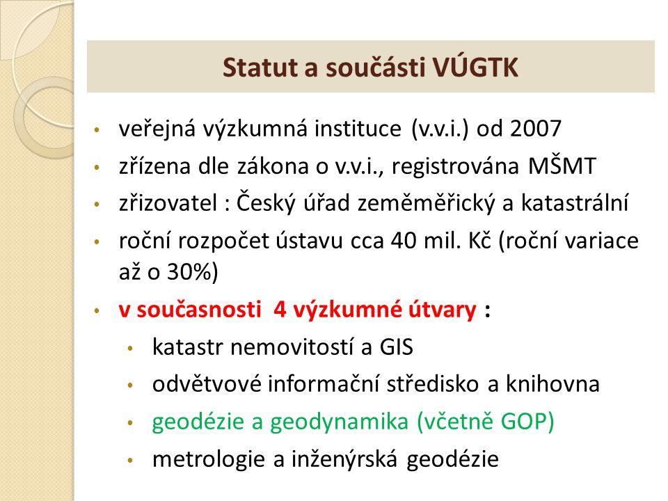 Statut a součásti VÚGTK veřejná výzkumná instituce (v.v.i.) od 2007 zřízena dle zákona o v.v.i., registrována MŠMT zřizovatel : Český úřad zeměměřický