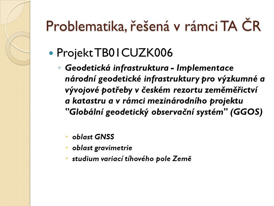 Problematika, řešená v rámci TA ČR Projekt TB01CUZK006 ◦ Geodetická infrastruktura - Implementace národní geodetické infrastruktury pro výzkumné a výv