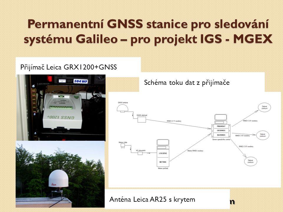 Permanentní GNSS stanice pro sledování systému Galileo – pro projekt IGS - MGEX Přijímač Leica GRX1200+GNSS Schéma toku dat z přijímače Anténa Leica A