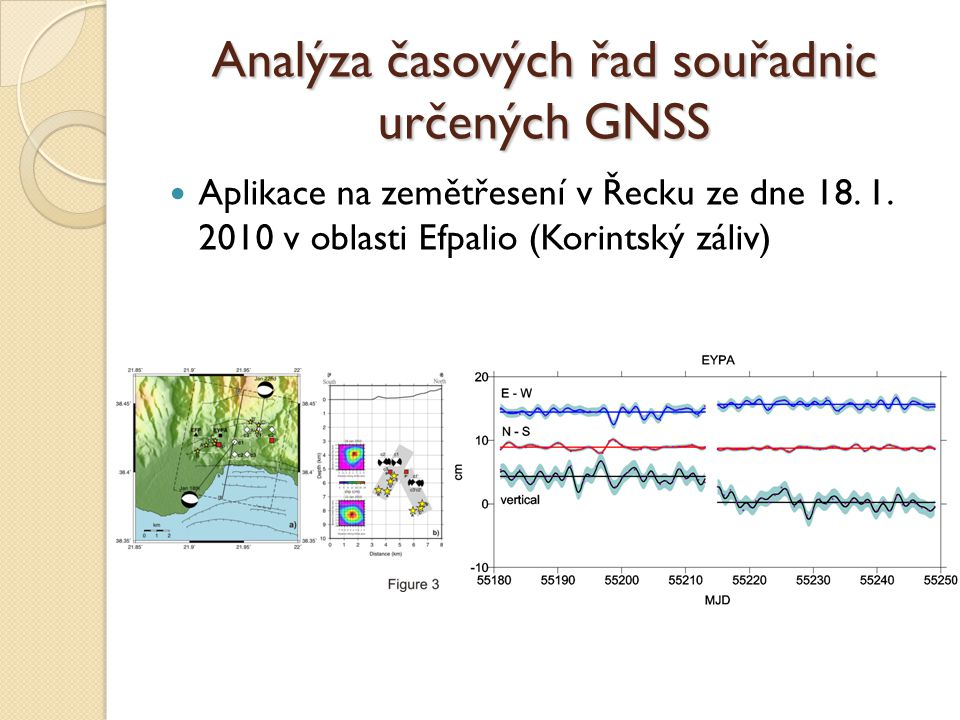 Analýza časových řad souřadnic určených GNSS Aplikace na zemětřesení v Řecku ze dne 18. 1. 2010 v oblasti Efpalio (Korintský záliv)