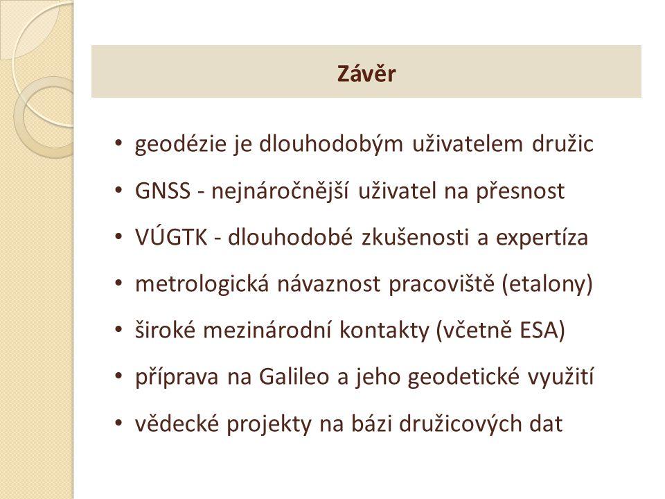 Závěr geodézie je dlouhodobým uživatelem družic GNSS - nejnáročnější uživatel na přesnost VÚGTK - dlouhodobé zkušenosti a expertíza metrologická návaz