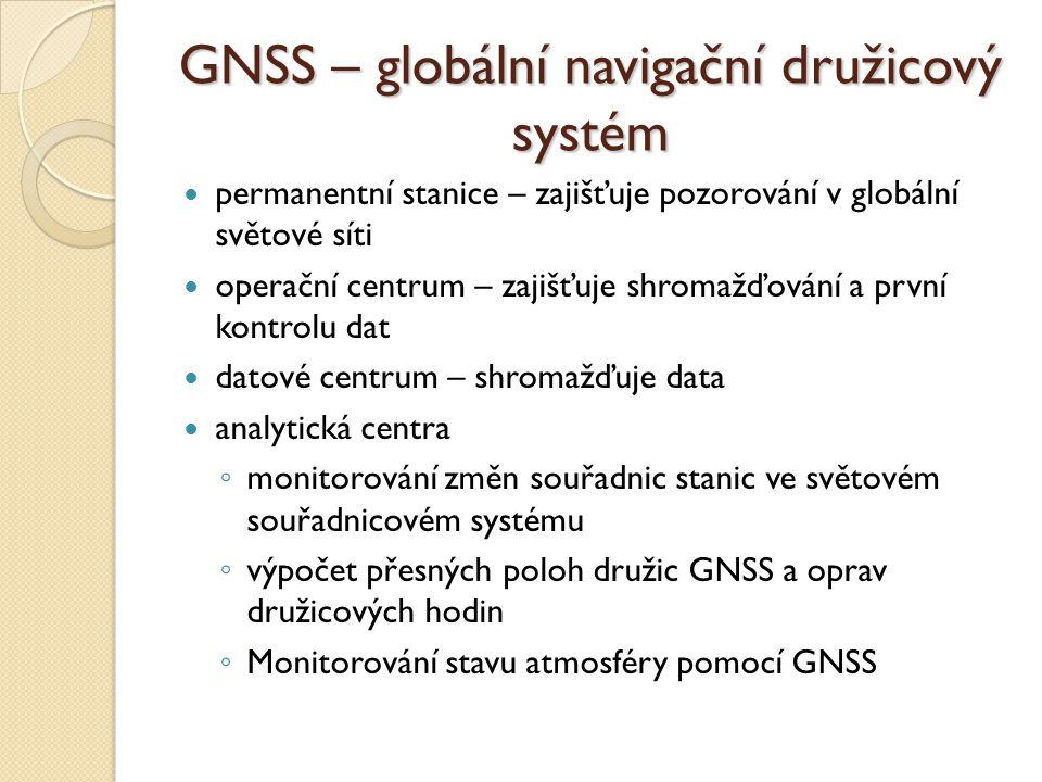 GNSS – globální navigační družicový systém permanentní stanice – zajišťuje pozorování v globální světové síti operační centrum – zajišťuje shromažďová