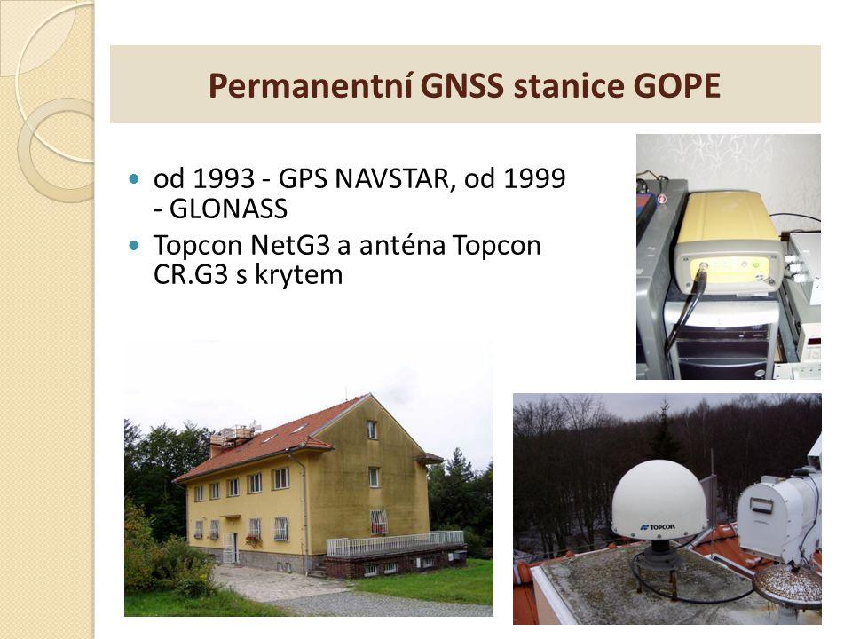 Permanentní GNSS stanice GOPE od 1993 - GPS NAVSTAR, od 1999 - GLONASS Topcon NetG3 a anténa Topcon CR.G3 s krytem